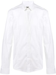 Les Hommes Textured Patch Shirt White