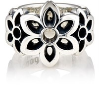 Good Art Hlywd Women's Floral Cutout Wide Band Ring Silver