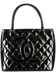 Chanel Vintage Cc Quilted Tote Bag Black