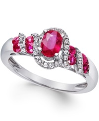 Macy's Ruby 7 8 Ct. T.W. And Diamond 1 6 Ct. T.W. Twist Ring In Sterling Silver Red