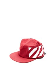 Off White Diagonals Print Cotton Canvas Cap Burgundy