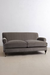 Anthropologie Velvet Willoughby Sofa Hickory Legs Dark Grey