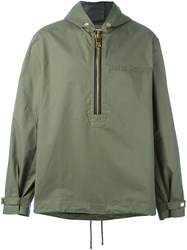 Palm Angels Oversized Zip Hooded Jacket Green