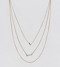 Reclaimed Vintage Inspired Heart And Arrow Multilayer Necklace Go1 Gold 1