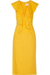 Cushnie Et Ochs Draped Linen Blend Dress Yellow