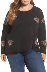 Lucky Brand Plus Size Embroidered Distressed Sweatshirt Lucky