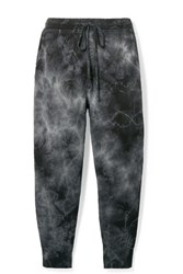 Nili Lotan Nolan Cropped Distressed Tie Dyed Cotton Jersey Track Pants Gray