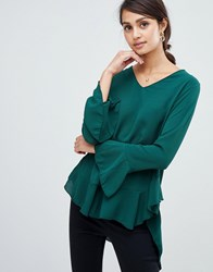 Girls On Film V Neck Top With Frill Sleeve Green