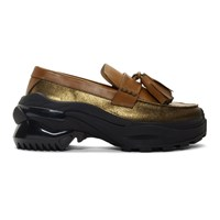 Maison Martin Margiela Tan And Gold Moccasin Loafers