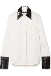 Ellery Thesis Oversized Faux Patent Leather Trimmed Crepe Shirt Ivory