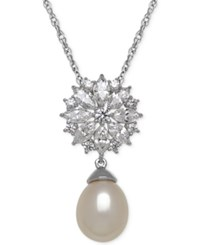 Arabella Cultured Freshwater Pearl 12Mm And Cubic Zirconia Pendant Necklace In Sterling Silver