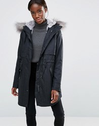Parka London Lara Water Resistant Houndtooth With Faux Fur Trim Houndstooth Grey