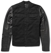 Alexander Wang Padded Cotton Twill And Leather Jacket Black