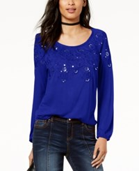 Inc International Concepts I.N.C. Sequined Embroidered Top Created For Macy's Bright Blue
