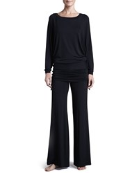 Fleurt Lounge With Me Batwing Top And Fold Over Adjustable Palazzo Pant Pj Set Black