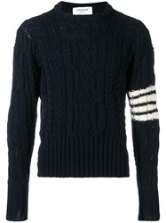 Thom Browne 4Bar Aran Cable Pullover Blue