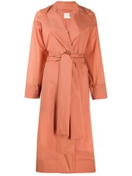 Issey Miyake Pleats Please By Belted Trench Coat Orange