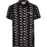 River Island Mens Black Zig Zag Print Short Sleeve Shirt