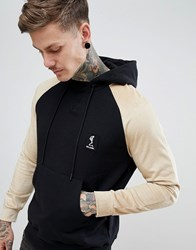 Religion Hoodie With Contrast Faux Suede Sleeve Black Tan