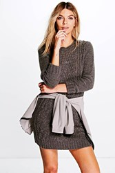 Boohoo Cable Knit Soft Boucle Jumper Dress Grey