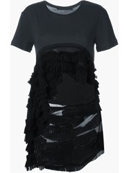 Haider Ackermann High Low Hem Frill T Shirt Black