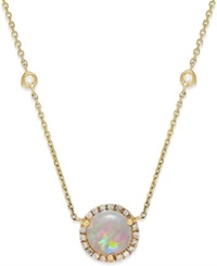 Macy's Opal 1 1 10 Ct. T.W. And Diamond 1 5 Ct. T.W. Pendant Necklace In 14K Gold