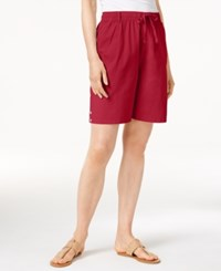 Karen Scott Lisa Pull On Cotton Shorts Only At Macy's New Red Amore
