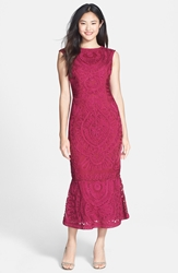 Js Collections Soutache Overlay Gown Fuschia