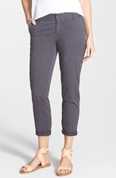 Petite Women's Caslon Chino Crop Pants Grey Ebony