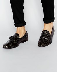 Asos Tassel Loafers In Black Suede With Gold Perforation