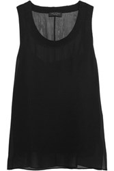 Rag And Bone Gilbert Silk Chiffon Wool Tank Black