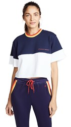 Perfect Moment Block Cropped Tee Snow White Navy Rainbow