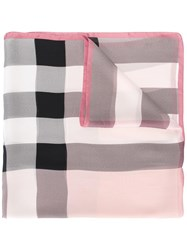 Burberry Lightweight Checked Scarf Pink Purple