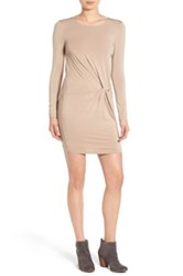 Everly Knotted Long Sleeve Body Con Dress Brown
