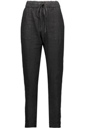 Enza Costa French Linen Tapered Pants Black