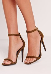 Missguided Rounded Strap Barely There Sandal Green Olive