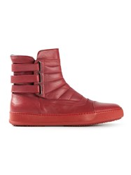 Bruno Bordese Bb Washed Strap Fastening Hi Top Sneakers Red