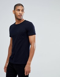 Tom Tailor T Shirt In Navy Pique With Pocket 6576