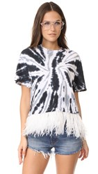 Opening Ceremony Cropped Feather Tee Black Tie Dye