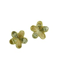 Lord And Taylor Flower Stud Earrings In 14K Tri Tone Gold