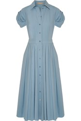 Michael Kors Collection Pleated Cotton Blend Poplin Midi Dress Sky Blue