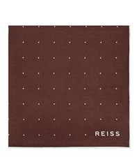 Reiss Planet Silk Twill Pocket Square In Red Mens