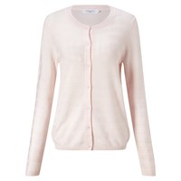 John Lewis Pearl Stitch Cotton Crew Neck Cardigan Pale Pink
