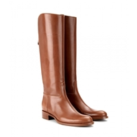 Loro Piana Wellington Leather Knee Boots Tobacco