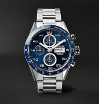 Tag Heuer Carrera Automatic Chronograph 43Mm Polished Steel Watch Silver