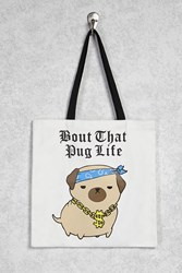 Forever 21 Pug Life Graphic Tote Beige Multi