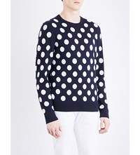 Michael Kors Polka Dot Print Wool Jumper Midnight