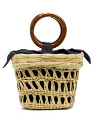 Sensi Studio Bamboo Handle Straw Basket Tote Bag Beige