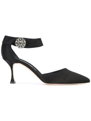 Manolo Blahnik Ista Pumps Women Cotton Leather Silk Satin 39.5 Black