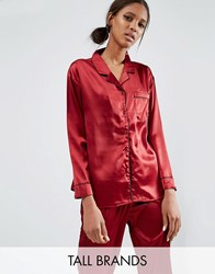 Daisy Street Tall Pyjama Blouse Co Ord Berry Red